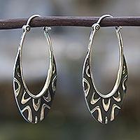 Sterling silver hoop earrings, 'Antique Taxco Lace'