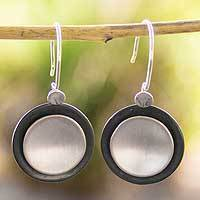 Sterling silver dangle earrings, 'Lunar Shadow'