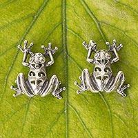 Sterling silver button earrings, 'Maya Tree Frog' - Mexican Silver Fair Trade Frog Theme Button Earrings
