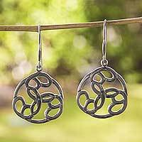 Sterling silver dangle earrings, 'Peace Chain' - Modern Handcrafted Earrings of Polished Mexican Silver