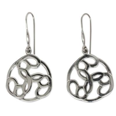 Modern Handcrafted Earrings of Polished Mexican Silver