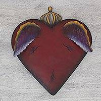 Steel wall art, 'A Heart Takes Wing' - Steel Heart with Wings Sculpture for the Wall