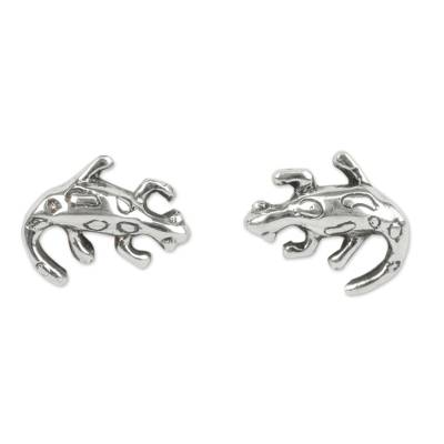 Mexican Lizard Sterling Silver Handcrafted Button Earrings