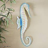 Steel wall art, 'Ocean Seahorse' - Hand Painted Steel Sea Horse Wall Sculpture from Mexico