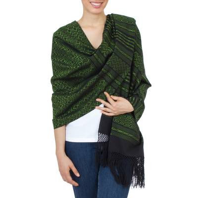 Zapotec cotton rebozo shawl, 'Avocado Leaves' - Green and Black Cotton Handwoven Zapotec Shawl