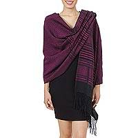 Zapotec cotton rebozo shawl, 'Mexican Rose'