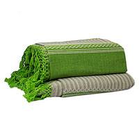 Zapotec cotton bedspread, 'Oaxaca Fields' (king) - Mexican Handwoven Green Cotton Zapotec Bedspread (King)