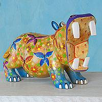 Alebrije sculpture, 'Hungry Hippo' - Mexican Artisan Crafted Hippopotamus Alebrije Wood Sculpture