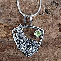 Peridot pendant necklace, 'Shield of Light' - Sterling Silver Taxco Necklace with Peridot from Mexico