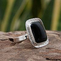 Obsidian cocktail ring, 'Midnight Reflection' - Taxco Jewelry Sterling Silver Cocktail Ring with Obsidian