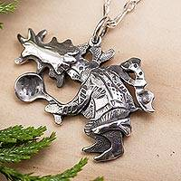 Sterling silver pendant necklace, 'Tejonero Dancer' - Sterling Silver Necklace with Traditional Mexican Dancer