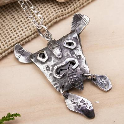 Soapstone pendant necklace, 'Nahuatl Tiger' - Tiger Mask Pendant in Aged Sterling Silver Necklace