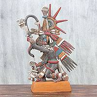 Ceramic sculpture, 'Aztec God Quetzalcoatl' - Signed Ceramic Sculpture of an Ancient Aztec Deity
