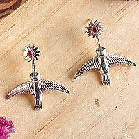 Amber dangle earrings, 'Hummingbird Suns' - Artisan Crafted Sterling Silver Earrings with Amber