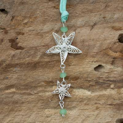 Quartz pendant necklace, 'Mint Starflower' - Green Quartz and Silver Filigree Handcrafted Flower Necklace