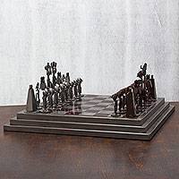 Auto part chess set, 'Pre-Hispanic Battle in Brown'