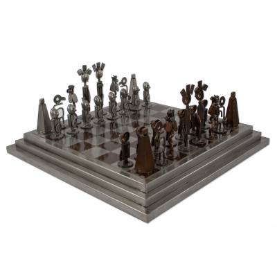 Auto part chess set, 'Pre-Hispanic Battle in Brown' - Rustic Chess Set Made in Mexico Using Recycled Car Parts