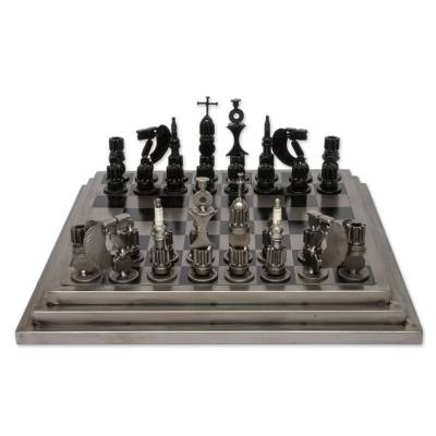 Upcycled Car Parts Chess Set Artisan Crafted in Mexico