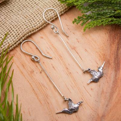 Sterling silver dangle earrings, 'Happy Hummingbirds' - Rustic Style Bird Earrings Hand Crafted in Sterling Silver