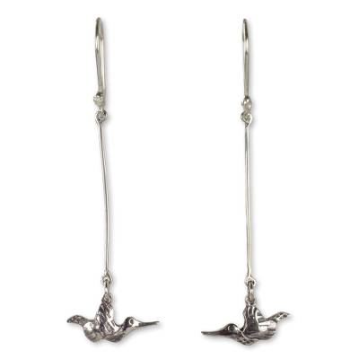 Rustic Style Bird Earrings Hand Crafted in Sterling Silver