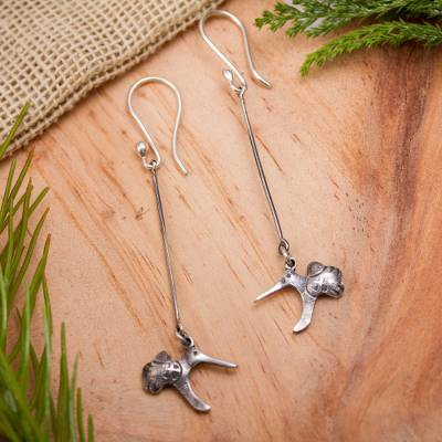 Sterling silver dangle earrings, 'Tzintzuni' - Mexican Hummingbird Earrings Handcrafted in Sterling Silver