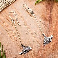 Sterling silver dangle earrings, 'Swimming Turtles' - Artisan Crafted Jewelry Sterling Silver Earrings