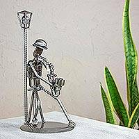 Auto part sculpture, 'Sax on the Corner' - Auto Part and Recycled Metal Musician Sculpture