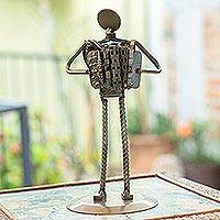 Auto part sculpture, 'Rustic Accordion' - Eco Friendly Recycled Auto Part Mexico Rustic Sculpture