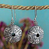 Sterling silver dangle earrings, Mandala Movement