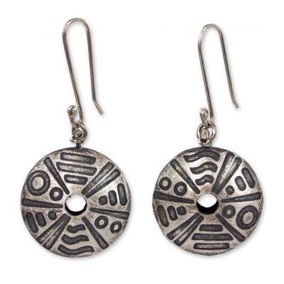 Etched Sterling Silver Earrings Hand Crafted in Mexico