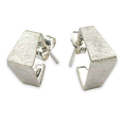 Sterling silver half hoop earrings, 'Silver Pyramids' - Geometric Half Hoop Earrings Crafted in Sterling Silver