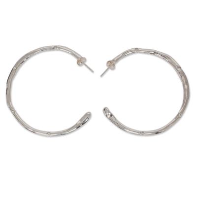 Mexico Handcrafted Sterling Half Hoop Rhinestone Earrings