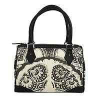 Leather trim baguette handbag, 'Sombras' - Leather Trim Baguette Purse in Black and White with Grey