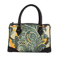 Leather accent baguette handbag, 'Mexican Paisley' - Floral Paisley Leather Trim Baguette Purse Detachable Strap