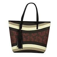 Leather accent tote handbag,