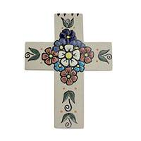 Ceramic cross, 'Dahlia Bouquet' - Handcrafted Ceramic Floral Cross for Wall Display