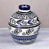 Ceramic vase, 'Seeds and Harvest' - Signed Handcrafted Ceramic Vase from Mexico