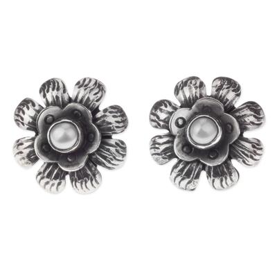 Sterling Silver Flower Earrings with Grey Pearls