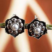 Cultured pearl flower earrings, 'Aztec Rose' - Vintage Style Sterling Silver Flower Earrings with Pearls