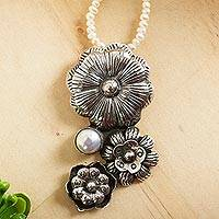 Cultured pearl flower necklace, 'Mexican Legacy' - Pearl Strand Necklace with Sterling Silver Flower Pendant