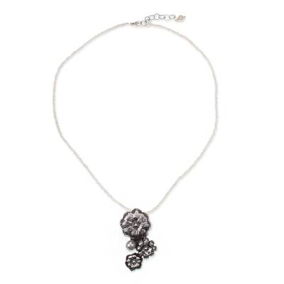 Pearl Strand Necklace with Sterling Silver Flower Pendant