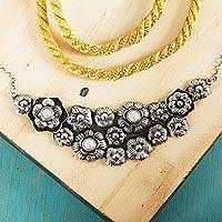 Cultured pearl flower necklace, 'Vintage Bouquet' (Mexico)