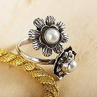 Cultured pearl flower wrap ring, 'Blossoming Happiness' - Sterling Silver Flower Wrap Ring with Silvery White Pearls