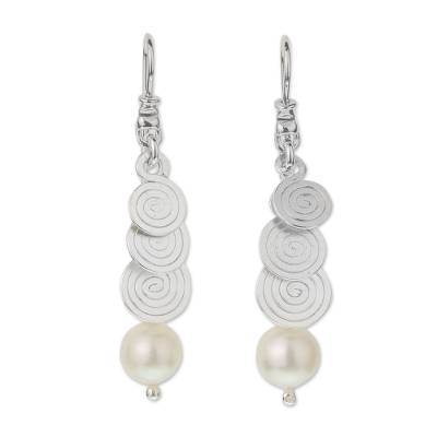 Cultured pearl dangle earrings, 'Spiral Waterfall' - Handcrafted Taxco Silver and White Cultured Pearl Earrings