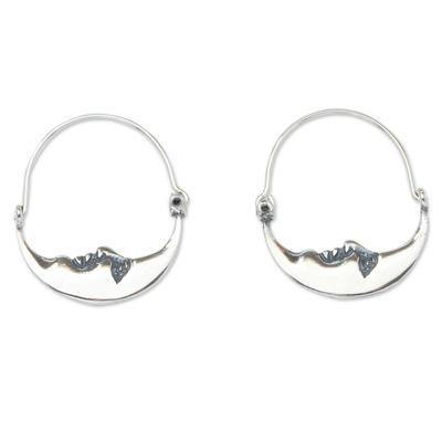 Vintage Crescent Moon Silver Hoop Earrings