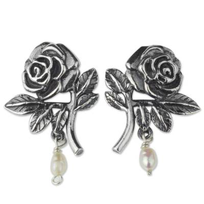 Artisan Crafted Sterling Rose Earrings with Cultured Pearls