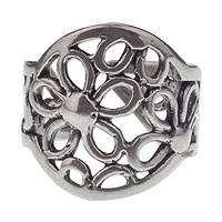 Sterling silver flower wrap ring, 'Mazamitla Meadow' - Sterling Silver Handcrafted Flower Theme Wrap Ring