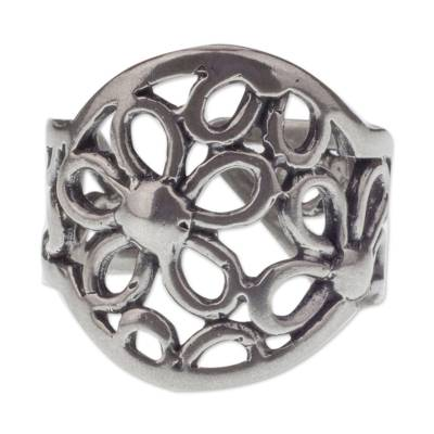 Sterling Silver Handcrafted Flower Theme Wrap Ring