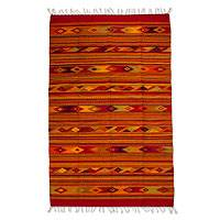 Zapotec wool rug, 'Red Fire Opal' (5x8) - Handwoven Authentic Zapotec Wool Area Rug (5x8)