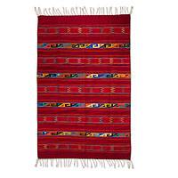 Zapotec wool rug, 'Crimson Lightning' (5x8) - Authentic Geometric Handwoven Zapotec Wool Area Rug (5x8)